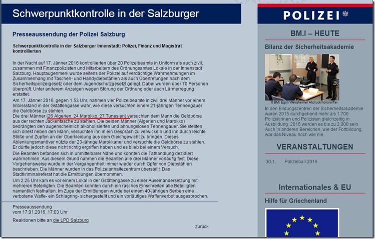 Schwerpunktkontrollen Polizei Salzburg  18.1.2016