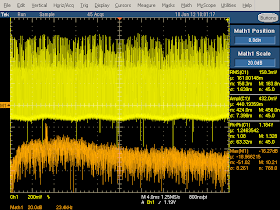 High frequency oscilloscope trace from counterfeit iPad charger