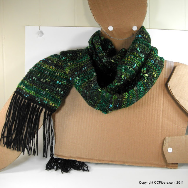 Black Friday Special - Handwoven Scarf, Green and Nubby