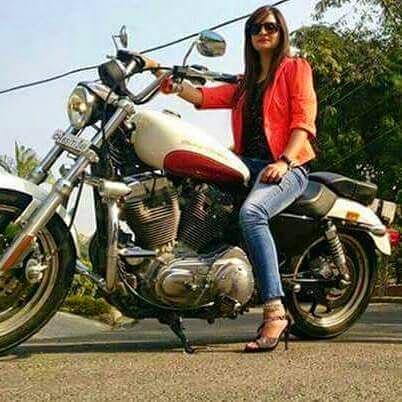 Beautiful Girl Sit on bike