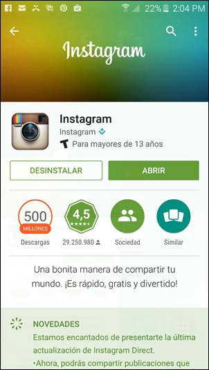 Abrir Instagram desde Android