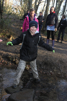 Picture of scout crossing a stream