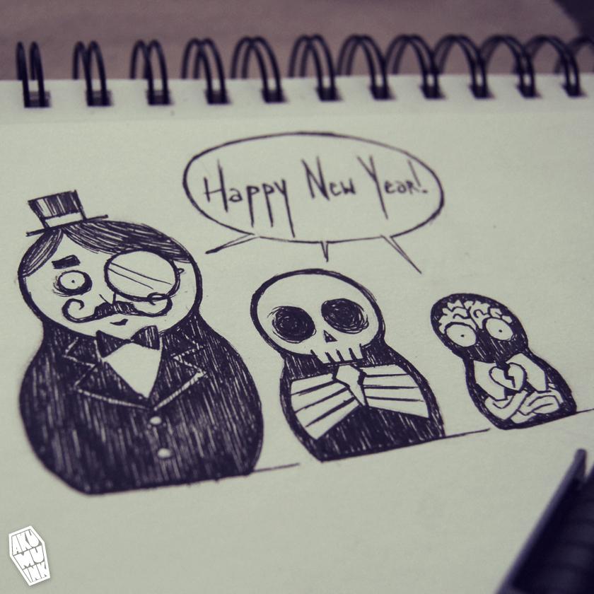 happy new year, 2013, art, goth doodle, goth sketch, russian doll emo, emo art, goth art, sketchbook nightmare, sketchbook goth, goth comic, gothic art style