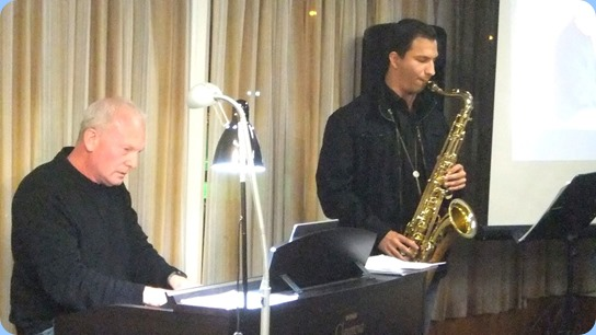 Our guest artists, Darren Smith accompanied by Daniel Rashtan, both from Music Works. Darren playing the Club's Yamaha Clavinova CVP-509 and Daniel on his Tenor Sax. Photo courtesy of Dennis Lyons.