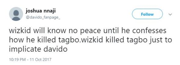 """Davido's Die Hard Fan Accuse Wizkid On Twitter Of Killing Tagbo Says """"Wizkid Will Know No Peace Until He Confesses"""""""