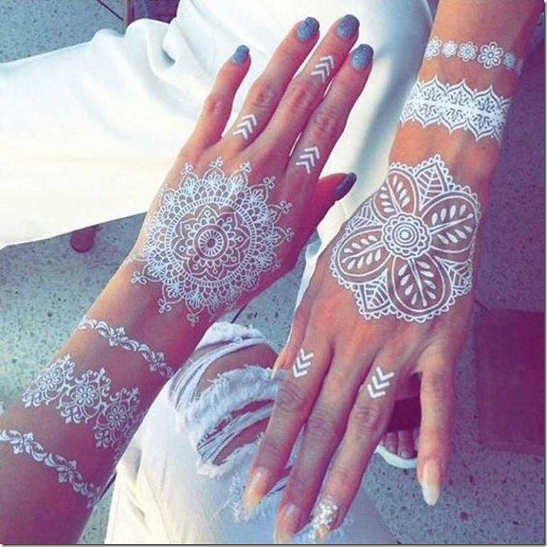 mehndi body art white