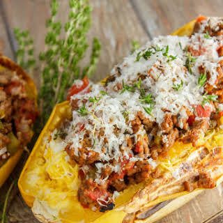 Stuffed Spaghetti Squash with Tomato and Ground Beef.