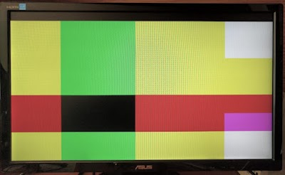 My first VGA program produced random color blocks on the screen. Not very meaningful, but it showed that everything worked.