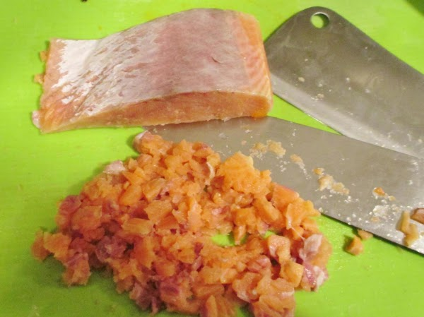 Remove the skin and any pin bones from the salmon.  Mince, using a...