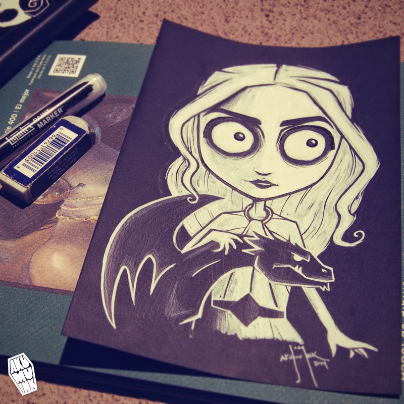 kalisi fanart, daenerys targaryen art, daenerys art, game of thrones art, game of thrones sketch, game of thrones tim burton, goth game of thrones
