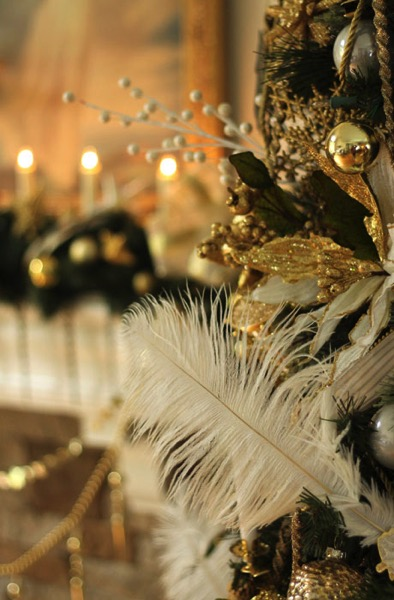 Peacock Feathers on Christms Tree