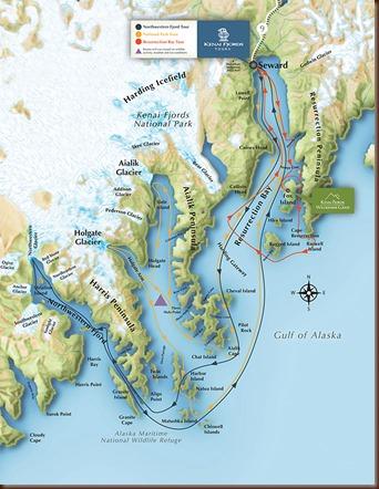 Seward - Kenai Fjords tour map