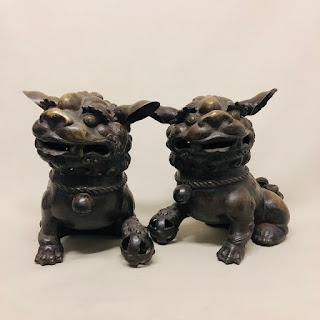 Large Brass Foo Dog Pair