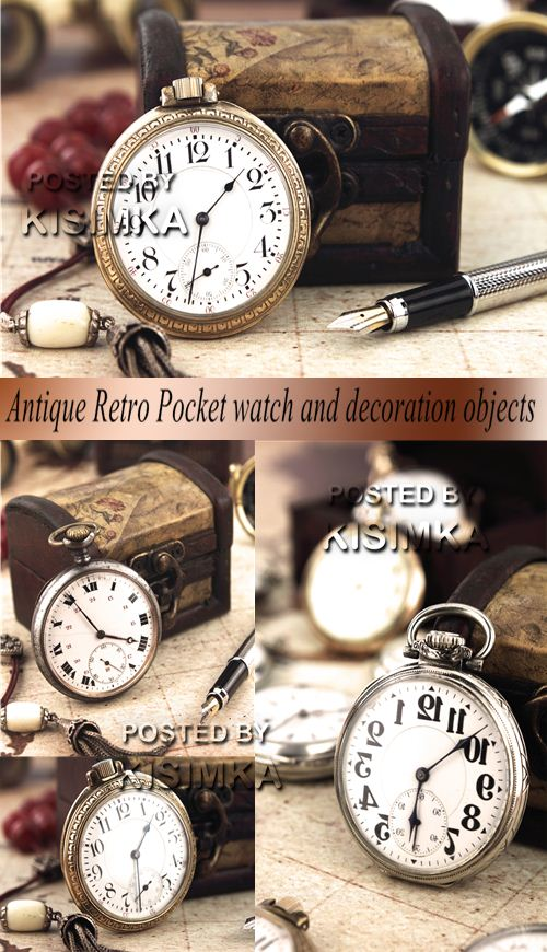 Stock Photo: Antique Retro Pocket watch and decoration objects