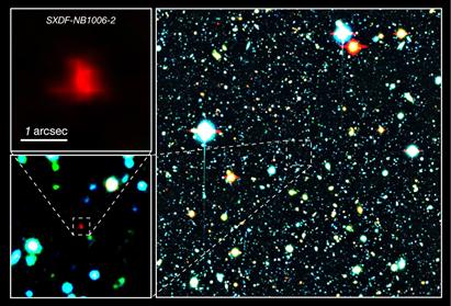 imagem de cores compostas do rastreio de campo profundo Subaru e XMM-Newton