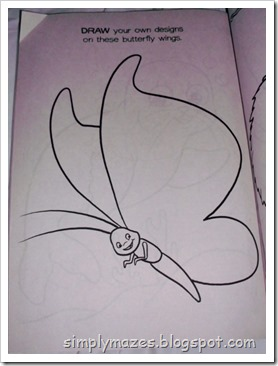 Drawing a butterfly maze with a coloring book page.