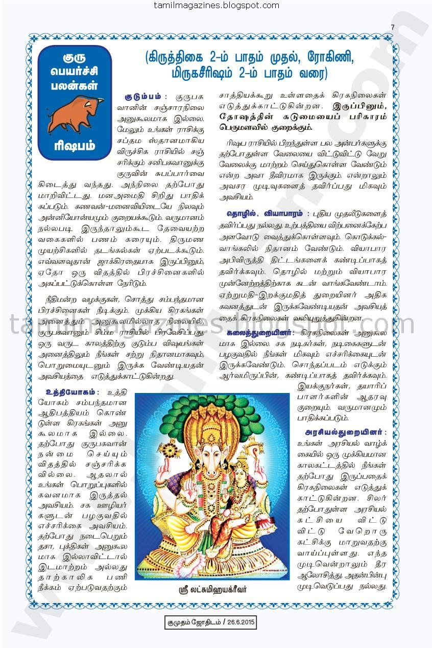 Predictions for 2015-2016 Guru Peyarchi Palan