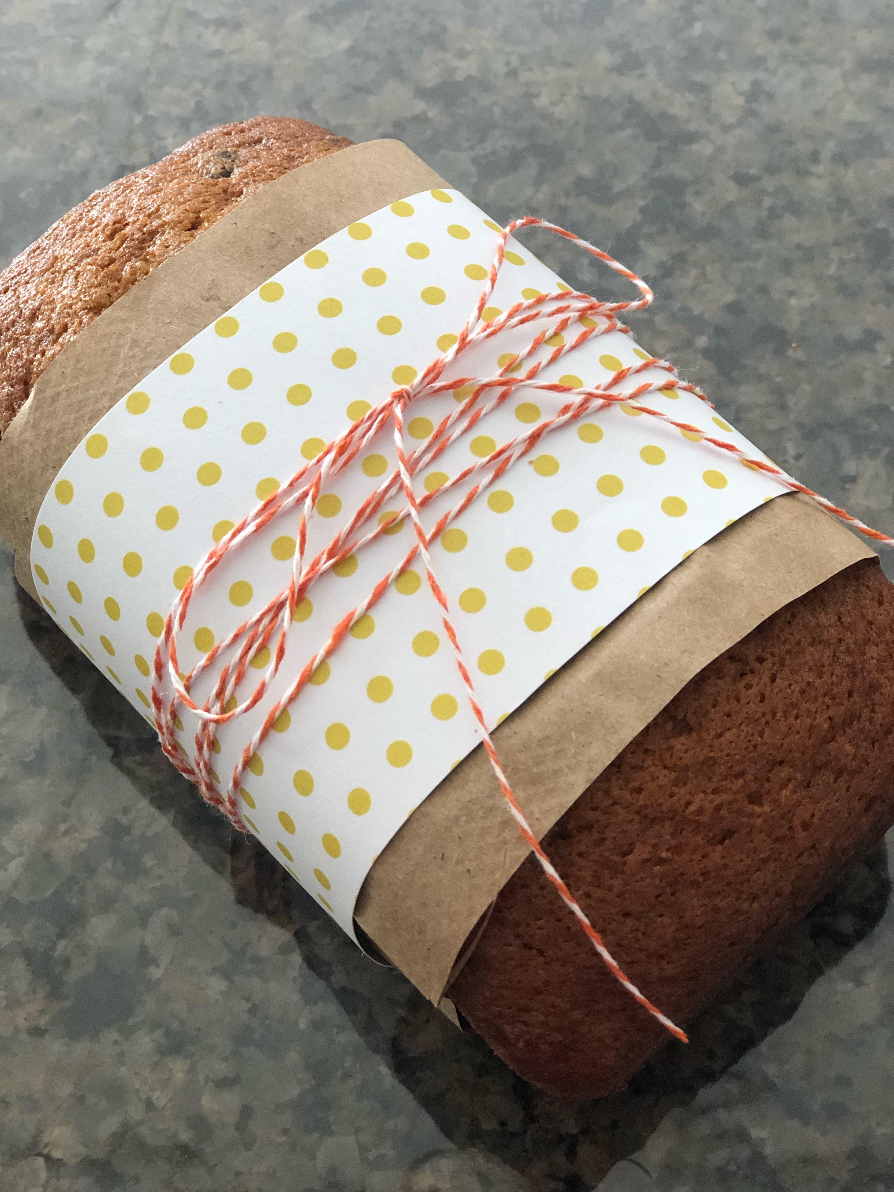 pumpkin chocolate chip bread wrapping idea