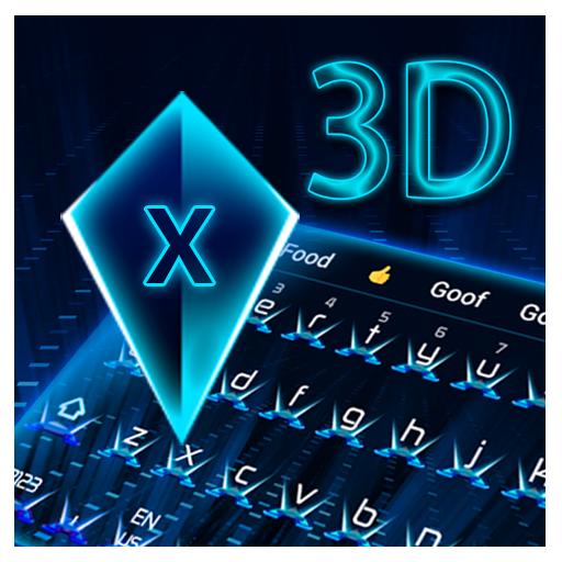 3d neon blue hologram keyboard future tech