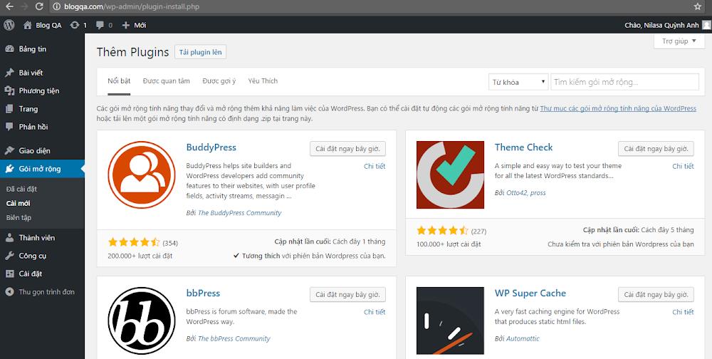 Hinh anh: Trang them plugin cua WordPress