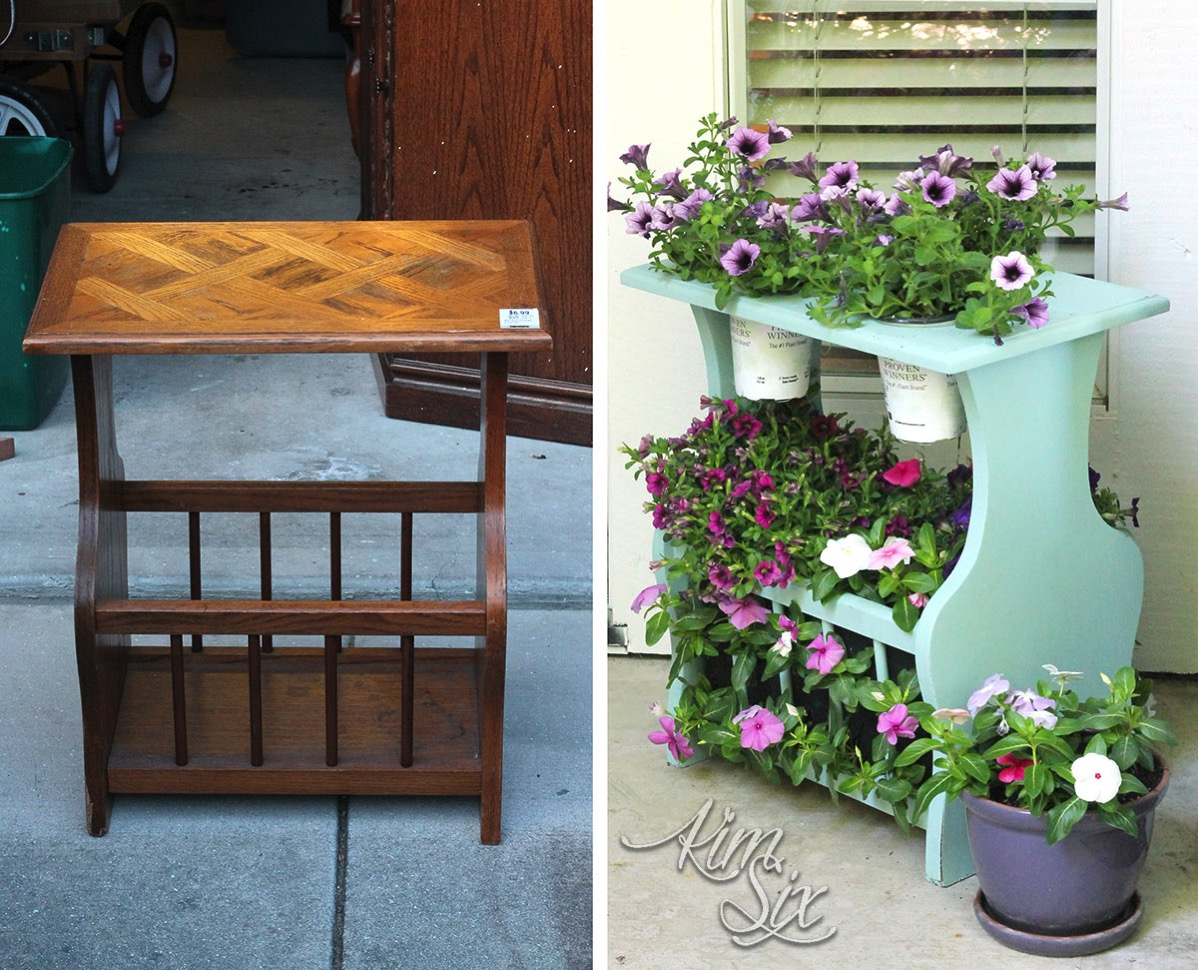 Before and after magazine rack turned plant stand