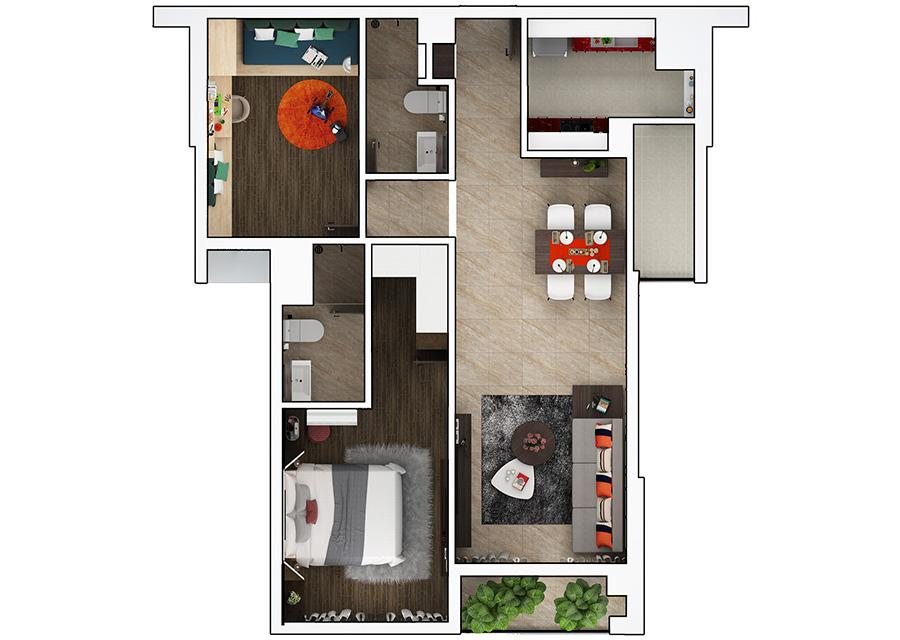 Phối cảnh 2D căn hộ 2 phòng ngủ DT: 79.03m²