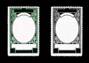 Photo: blank postage stamp framed in scrolls with ornate design