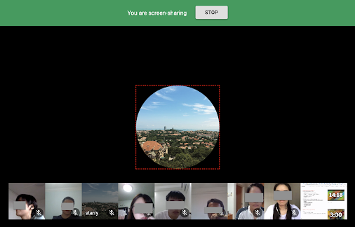 Google Hangouts screenshot of screen sharing in progress.
