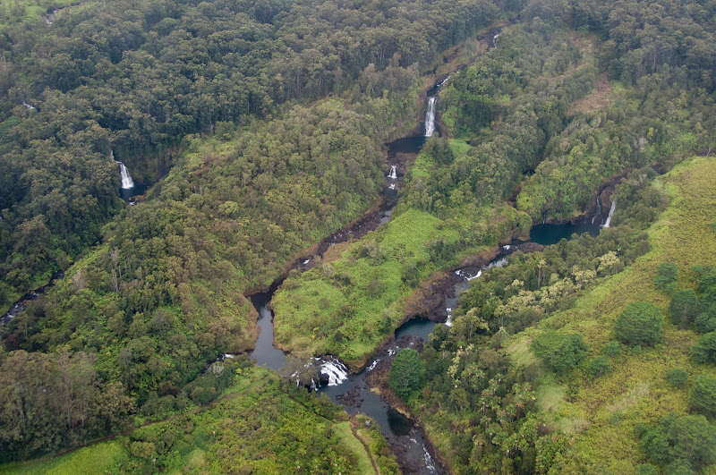 Helicopter view of Hilo waterfalls