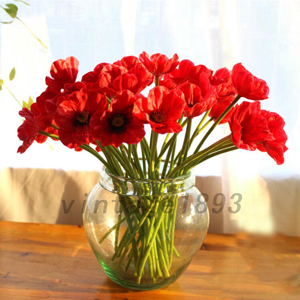 10pcs Artificial Poppy Silk Flowers Wedding Bouquet Home Party Decor