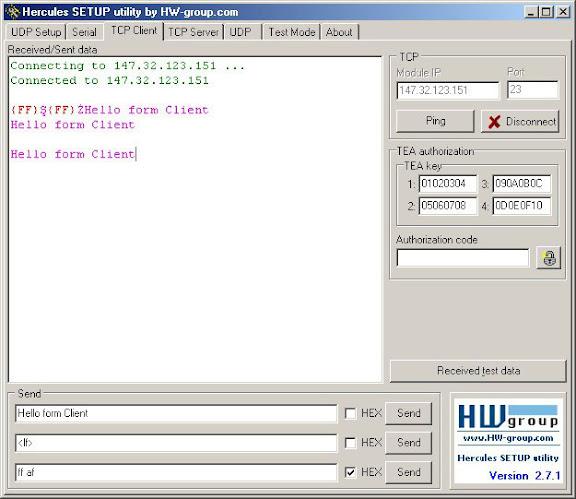 Hercules Terminal Serial Communication Software interface