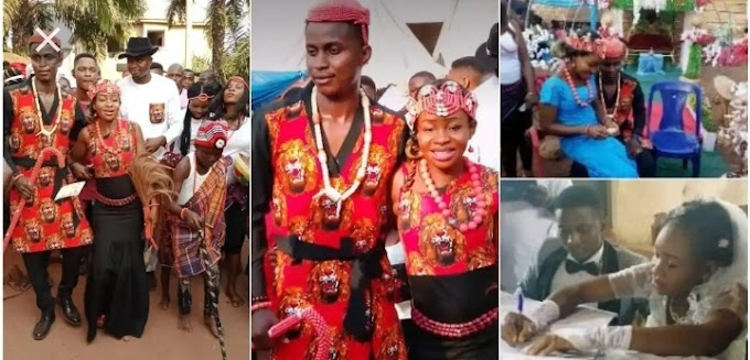 Nigeria Couple get married after dating for 12 years, groom says she never asked for urgent 2k
