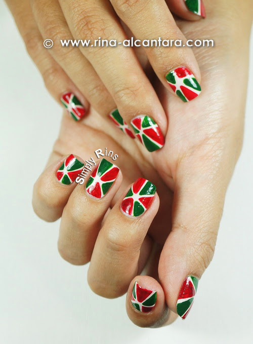 Christmas Pinwheel Nail Art Design - Freehand