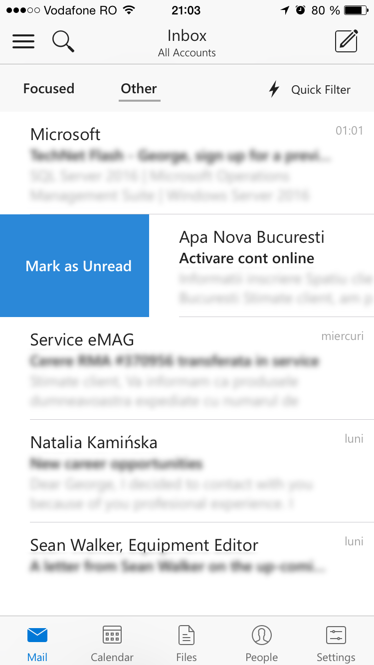 Outlook for iOS: Mailbox and swipe actions