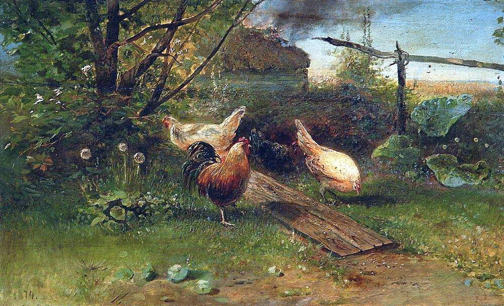 Alexei Savrasov - Summer day. Chickens in the backyard. 1874