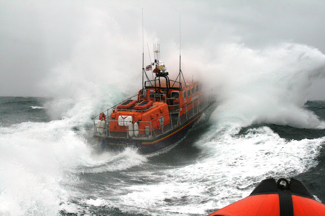 12 June 2011 - We think the crew have had enough of getting wet! ALB during exercise in rough weather (southerly force 7, gusting 8, heavy rain, 4.5m seas). (Photo credit: Rob Inett)