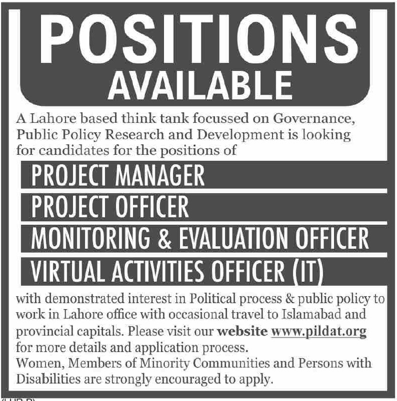 PILDAT Lahore Jobs September 2020