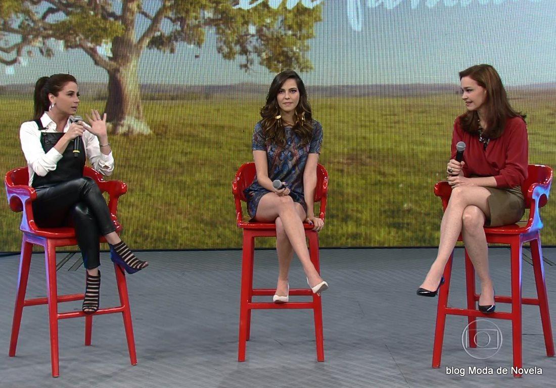 moda do programa Domingão do Faustão - looks de Giovanna Antonelli, Tainá Müller e Julia Lemmertz  dia 6 de julho