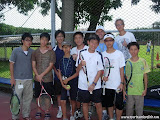 Scott with his tennis students at 2007 Sports and English Camp