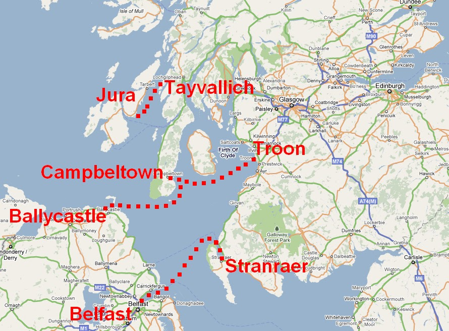 Campbeltown Scotland Map.Except The Kyles And Western Isles Troon To Campbeltown Ferry
