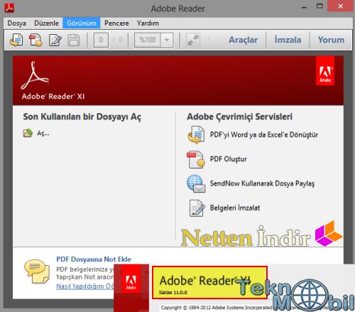 Adobe Reader v11 Türkçe