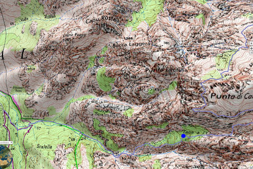 Carte des ravins du Fangu et de Tana di l'Orsu