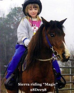 Sierra riding Magic Dec 1998