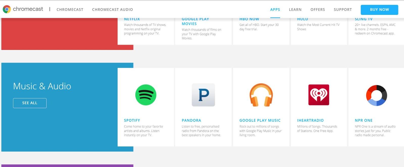 Pandora, installed on Windows 10 platform doesn't offer casting