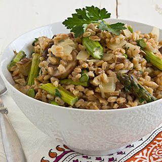 Farro Risotto with Wild Mushrooms and Asparagus.