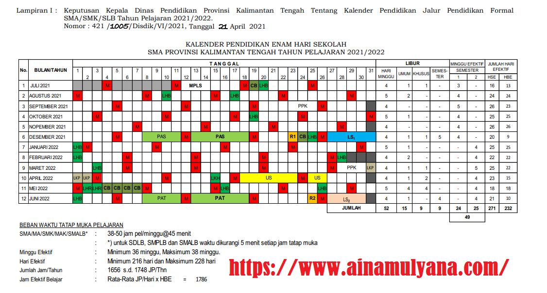 Kalender Pendidikan Provinsi Kalimantan Tengah Tahun Pelajaran 2021/2022