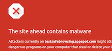 Interstitial hacked website warning in the browser.