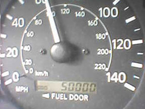 Photo of my odometer at 50,000 miles. Camera photo by Nick Peyton.
