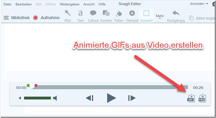 Snagit animierte GIF aus Video erstellen