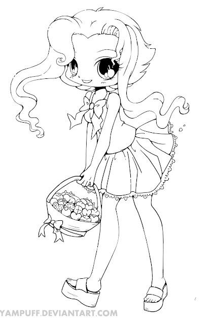 Kirika Chibi Line Art By Yampuff On Deviantart  Chibi Anime Girls Coloring  Pages  Coloringstar